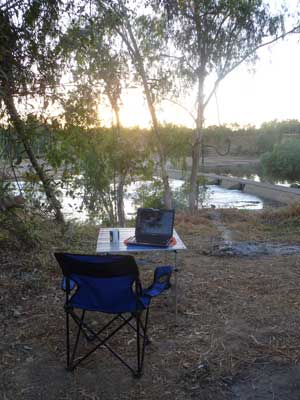 Office set up overlooking the Palmer River