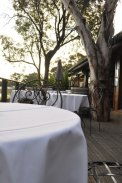 Photos of deserted tables with white table clothes and wrought iron chairs on the balcony. Leaves & Fishes restaurant
