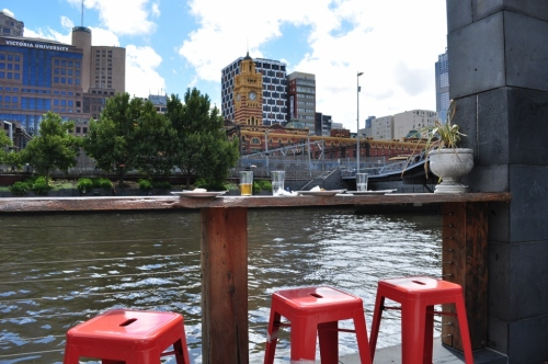 Drinks at a bar in the middle of the Yarra